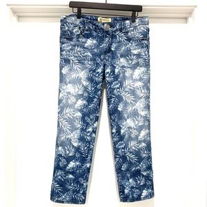 Democracy Tropical Pattern Cropped Denim Jeans-8